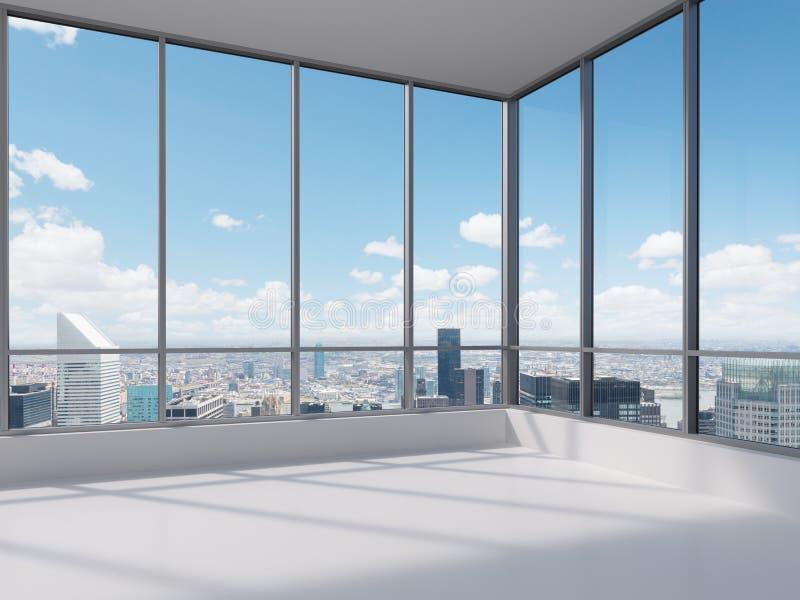 Γραφείο με το μεγάλο παράθυρο διανυσματική απεικόνιση