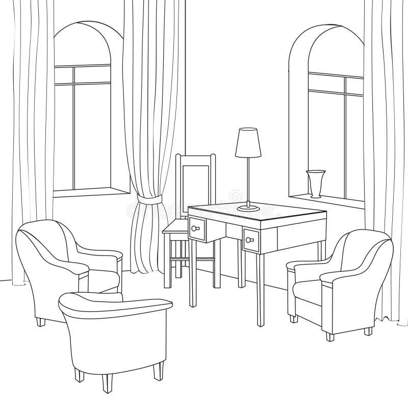 Γραφείο πιό interier Διανυσματικά έπιπλα Editable εσωτερικό αναδρομικό ύφος διανυσματική απεικόνιση
