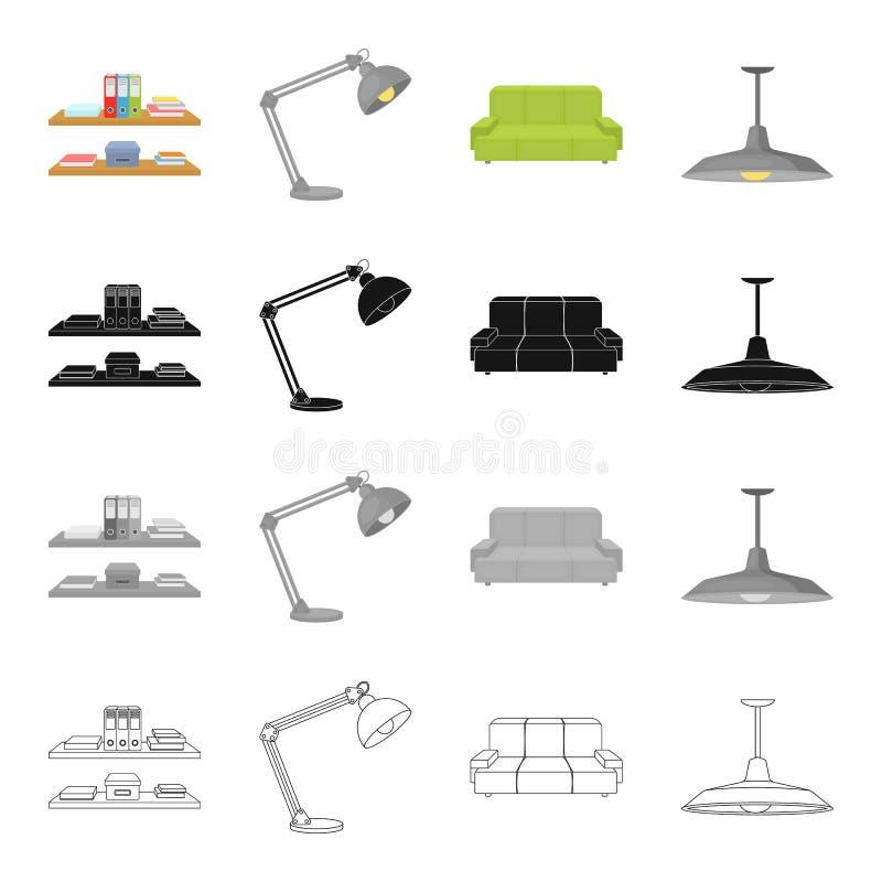 Γραφείο, προμήθειες, εξοπλισμός και άλλο εικονίδιο Ιστού στο ύφος κινούμενων σχεδίων Σκιά, ιδιότητες, εικονίδια επίπλων στην καθο διανυσματική απεικόνιση