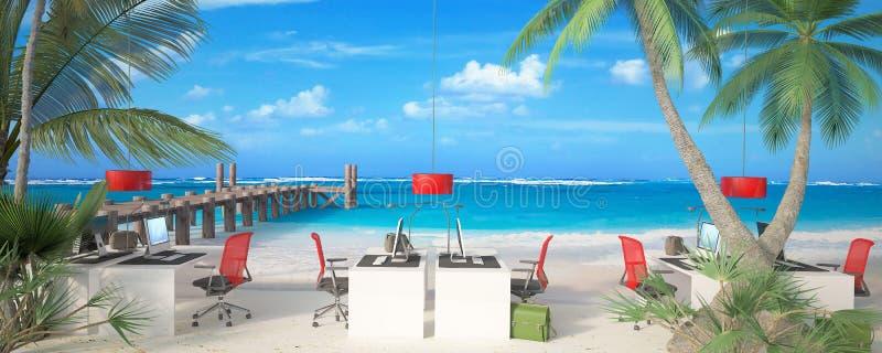 Γραφείο στην παραλία απεικόνιση αποθεμάτων