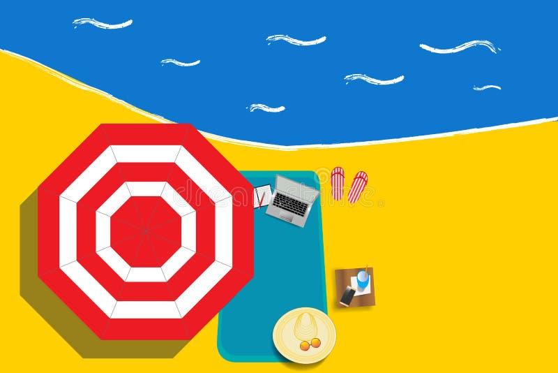 Γραφείο στην παραλία διανυσματική απεικόνιση