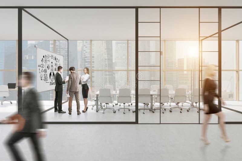 Γραφείο τοίχων γυαλιού με τους ανθρώπους και μια αφίσα διανυσματική απεικόνιση