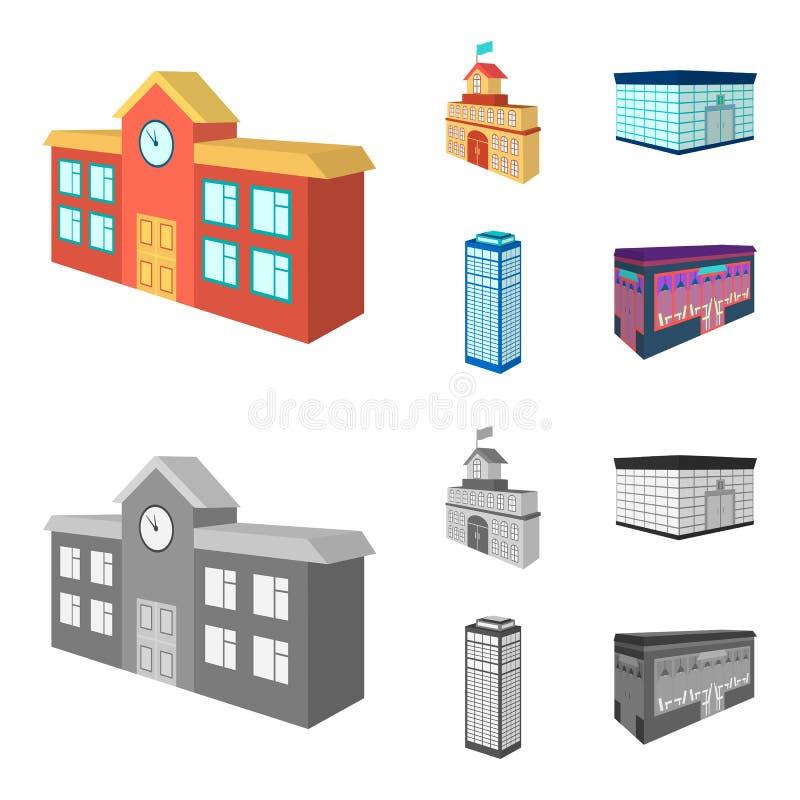 Γραφείο τράπεζας, ουρανοξύστης, κτήριο αιθουσών πόλεων, κτήριο κολλεγίων Εικονίδια αρχιτεκτονικής και συλλογής δομών καθορισμένα  διανυσματική απεικόνιση