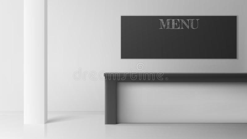 Γραφείο φραγμών στον καφέ ή τη καφετερία, κενό εσωτερικό διανυσματική απεικόνιση