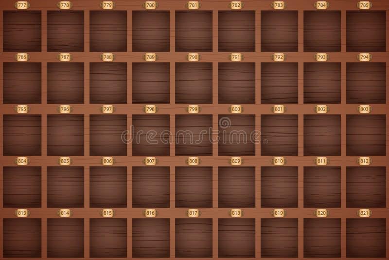 γραφείων εστίασης μπροστινός κορυφαίος τρύγος σειρών ραφιών πλήκτρων ξενοδοχείων βασικός διανυσματική απεικόνιση