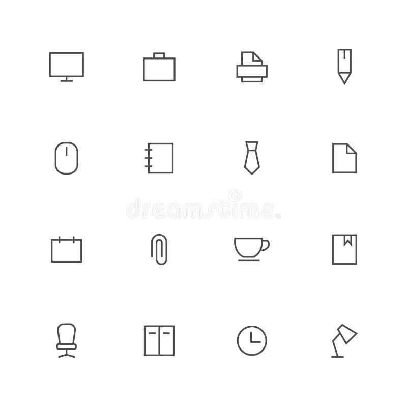Γραφείων περιλήψεων εικονιδίων μαύρο κτύπημα συνόλου αποθεμάτων διανυσματικό στο άσπρο υπόβαθρο διανυσματική απεικόνιση