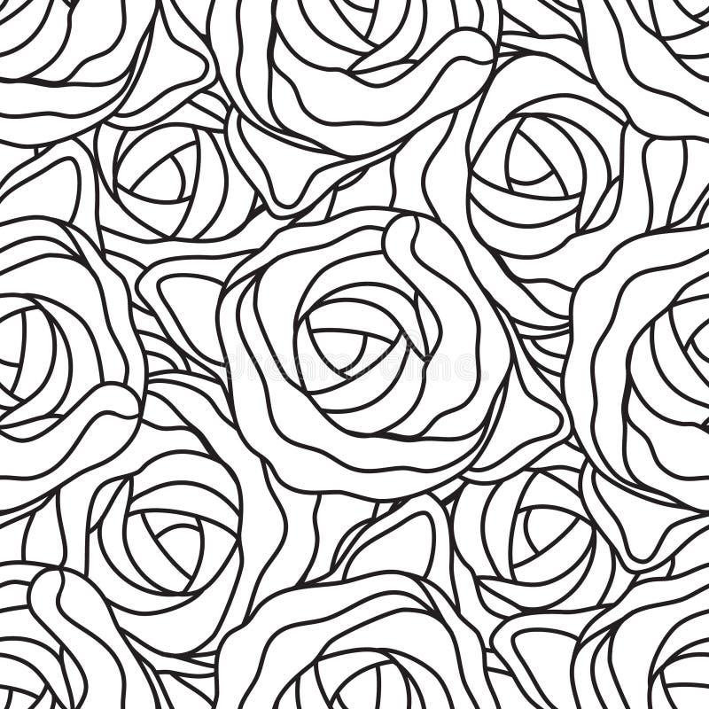 Γραφικά αφηρημένα τυποποιημένα τριαντάφυλλα στα γραπτά χρώματα Διανυσματικό άνευ ραφής σύγχρονο σχέδιο διανυσματική απεικόνιση