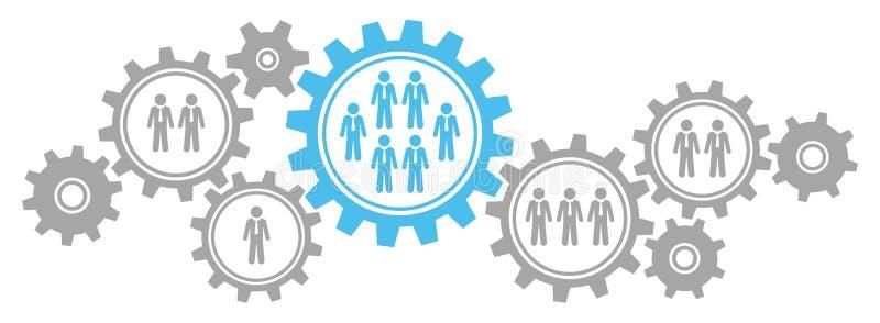 Γραφικά επιχειρησιακά άτομα συνόρων εργαλείων γκρίζα και μπλε απεικόνιση αποθεμάτων