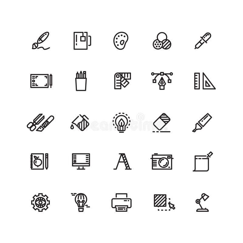 Γραφικά εργαλεία σχεδίου, δημιουργικός, λεπτά εικονίδια γραμμών χαρτικών γραφείων καθορισμένα διανυσματική απεικόνιση