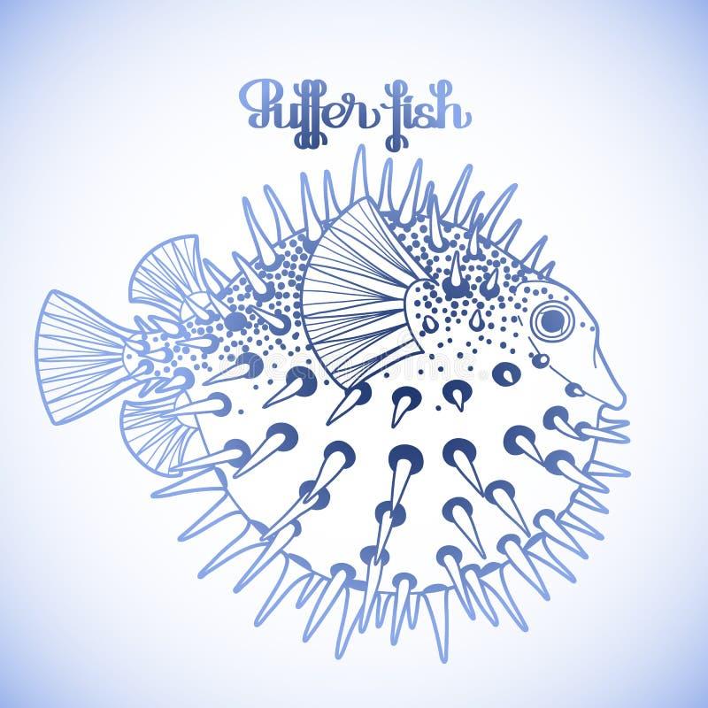 Γραφικά ψάρια καπνιστών διανυσματική απεικόνιση