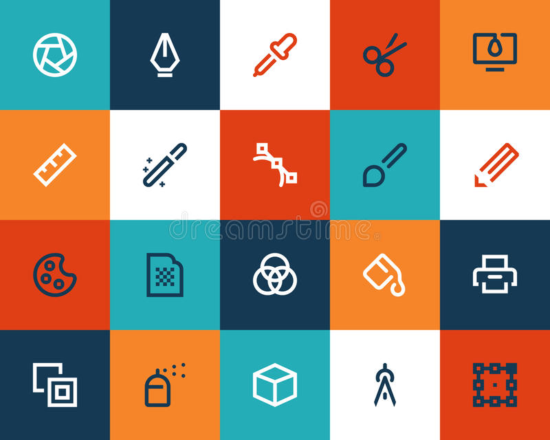 Γραφικά desing εργαλεία. Επίπεδος απεικόνιση αποθεμάτων