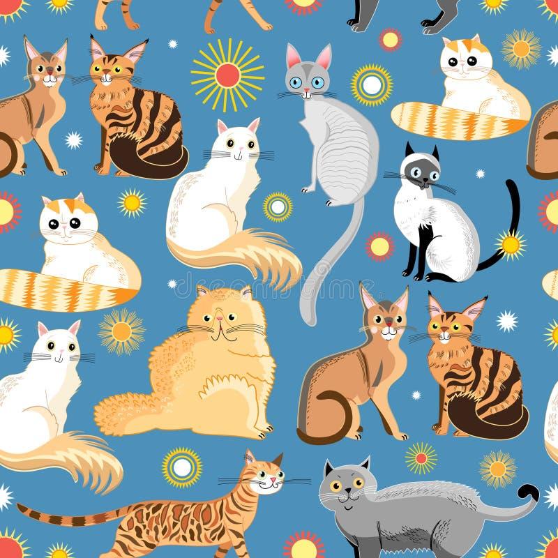 Γραφικές διαφορετικές φυλές σχεδίων των γατών απεικόνιση αποθεμάτων