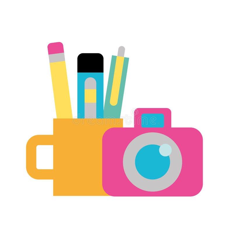 Γραφικές φωτογραφικές κάμερα και προμήθειες σχεδίου ελεύθερη απεικόνιση δικαιώματος