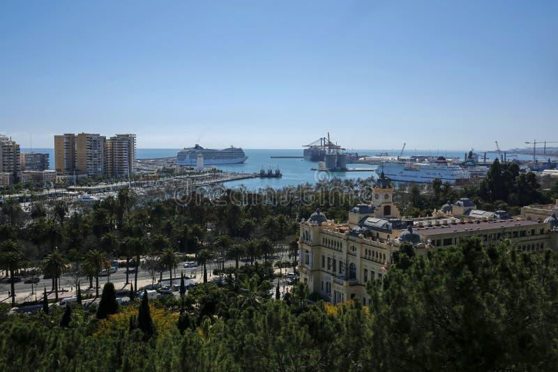 Γραφική άποψη της περιοχής, του λιμένα και του περιπάτου Λα Malagueta στη Μάλαγα, Κόστα ντελ Σολ, Ανδαλουσία στοκ φωτογραφίες με δικαίωμα ελεύθερης χρήσης
