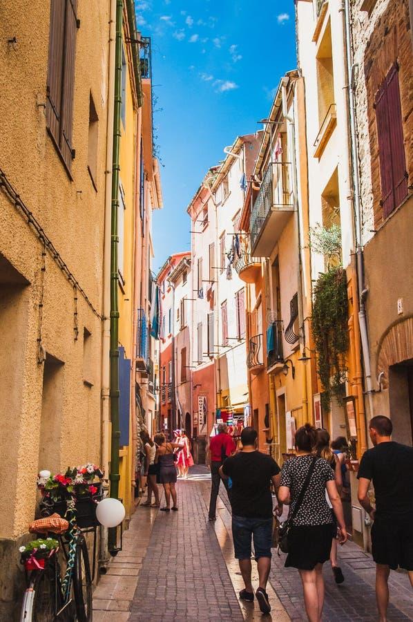Γραφική άποψη των οδών Collioure, Γαλλία στοκ φωτογραφία