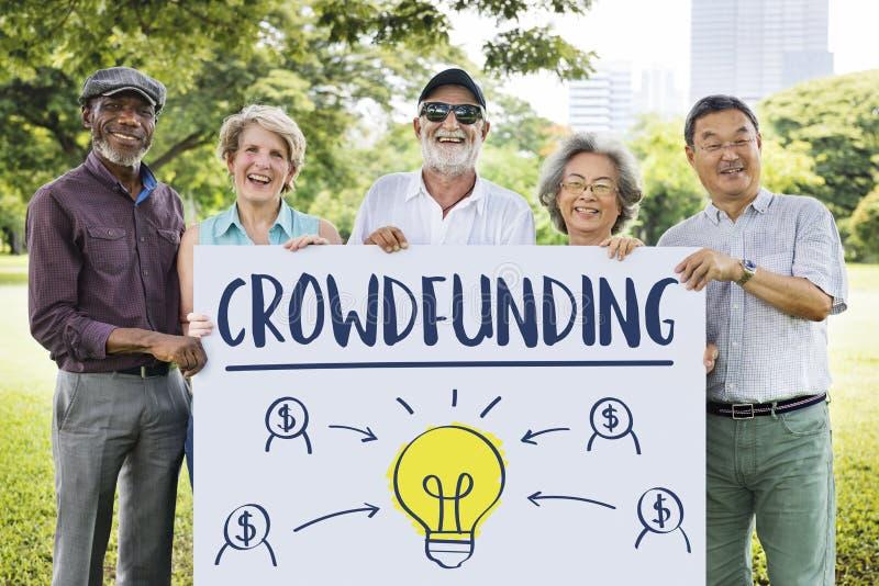 Γραφική έννοια επιχειρησιακών βολβών χρημάτων Crowdfunding στοκ φωτογραφίες