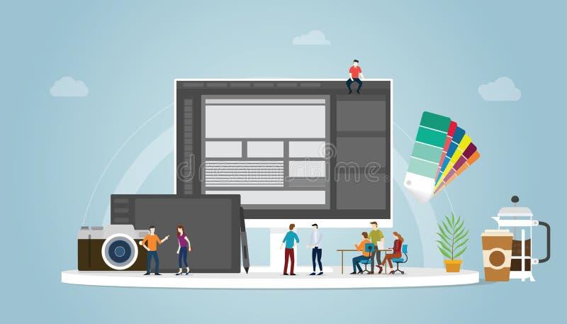 Γραφική έννοια σχεδίου και σχεδιαστών με τους ανθρώπους ομάδων και μερικά εργαλεία όπως το pantone και τον υπολογιστή ταμπλετών μ διανυσματική απεικόνιση