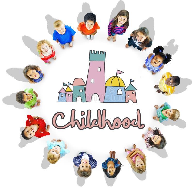Γραφική έννοια του Castle παλατιών παιδιών παιδικής ηλικίας στοκ εικόνα