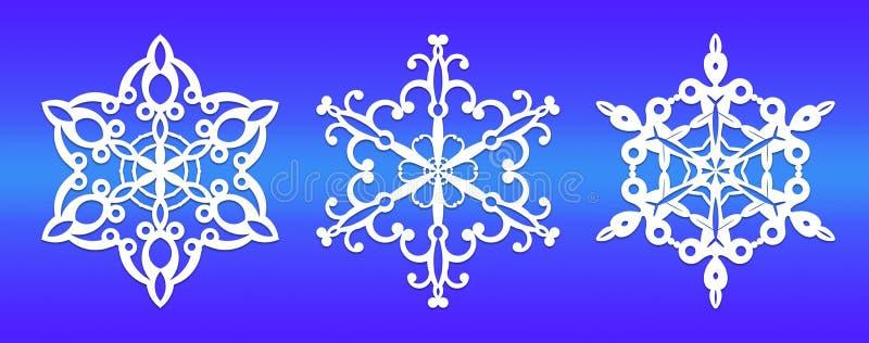 Γραφική αντιπροσώπευση άσπρα snowflakes σε ένα μπλε υπόβαθρο διανυσματική απεικόνιση