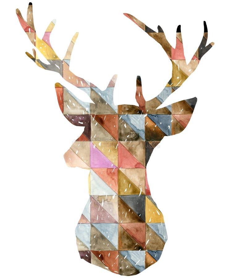 Γραφική απεικόνιση ελαφιών Watercolor διανυσματική απεικόνιση