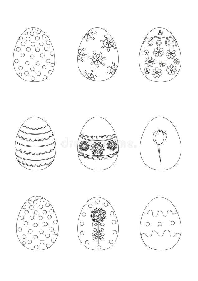 γραφική απεικόνιση χρωματισμού βιβλίων ζωηρόχρωμη εικόνα αυγών Πάσχας που γίνεται ελεύθερη απεικόνιση δικαιώματος