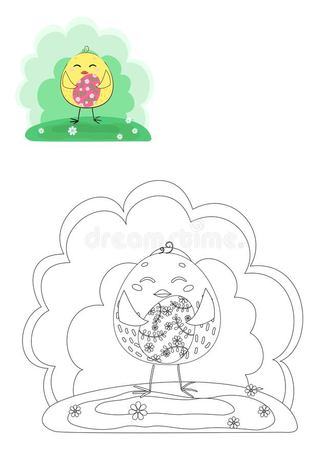 γραφική απεικόνιση χρωματισμού βιβλίων ζωηρόχρωμη Κοτόπουλο Πάσχας απεικόνιση αποθεμάτων