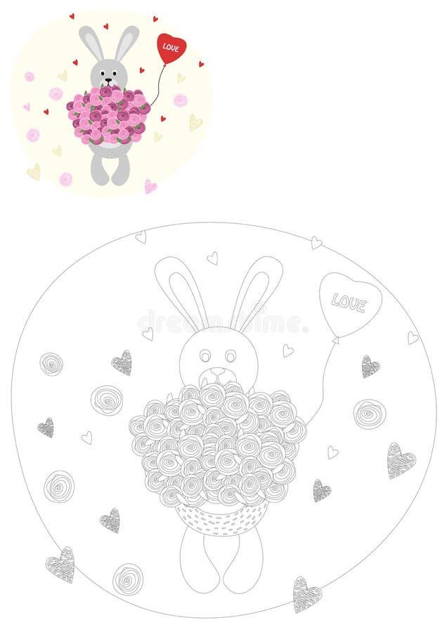γραφική απεικόνιση χρωματισμού βιβλίων ζωηρόχρωμη χαριτωμένο κουνέλι διανυσματική απεικόνιση