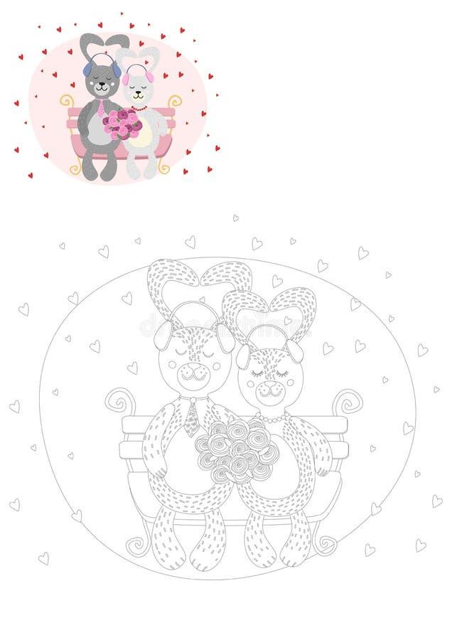 γραφική απεικόνιση χρωματισμού βιβλίων ζωηρόχρωμη χαριτωμένο κουνέλι ελεύθερη απεικόνιση δικαιώματος