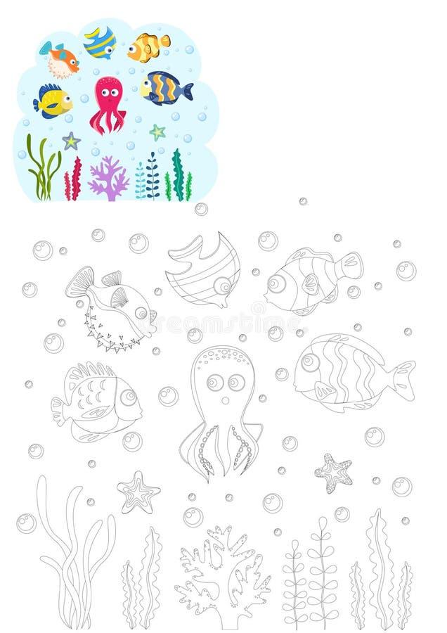 γραφική απεικόνιση χρωματισμού βιβλίων ζωηρόχρωμη Ψάρια θάλασσας ελεύθερη απεικόνιση δικαιώματος