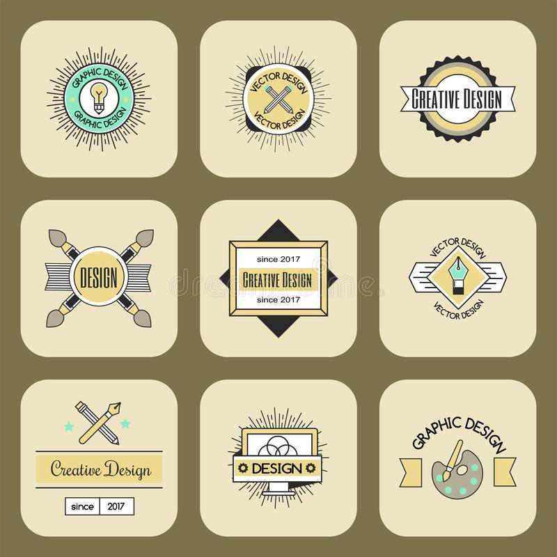 Γραφική αφηρημένη επιχειρησιακή μορφή συλλογής διακοσμήσεων ταυτότητας επιχείρησης λογότυπων σχεδίου τέχνης και σύγχρονος Ιστός τ ελεύθερη απεικόνιση δικαιώματος