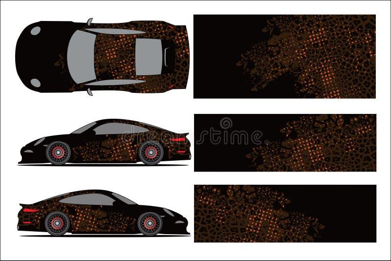 Γραφική, αφηρημένη μορφή αγώνα αυτοκινήτων με το σύγχρονο σχέδιο φυλών για το βινυλίου περικάλυμμα οχημάτων απεικόνιση αποθεμάτων