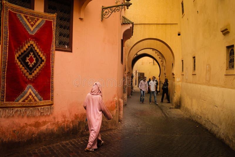Γραφική γωνία στο medina Μαρακές Μαρόκο στοκ φωτογραφία με δικαίωμα ελεύθερης χρήσης