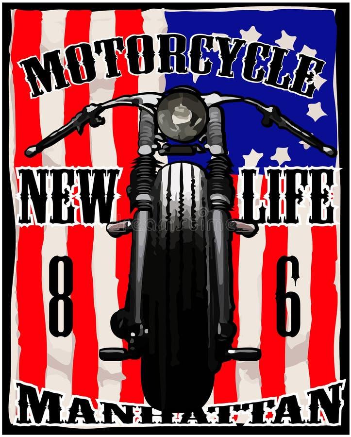 Γραφική εκλεκτής ποιότητας φυλή μπλουζών αμερικανικών σημαιών μοτοσικλετών διανυσματική απεικόνιση