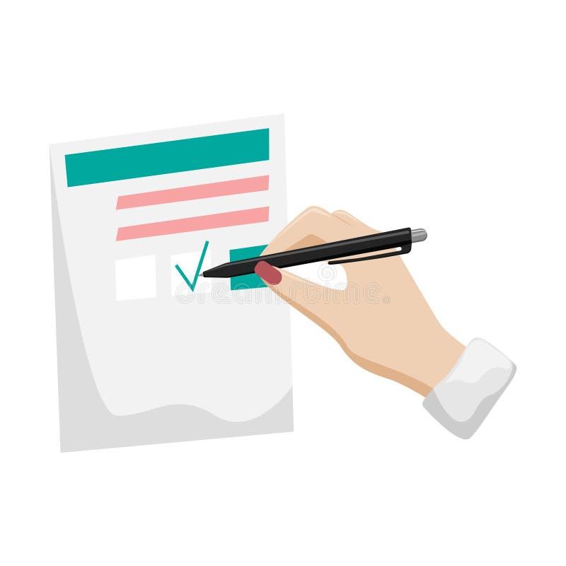 Γραφική εργασία, φορολογική επιστροφή, ερωτηματολόγιο Το χέρι μιας γυναίκας με ένα κόκκινο μανικιούρ υπογράφει το έγγραφο διανυσματική απεικόνιση