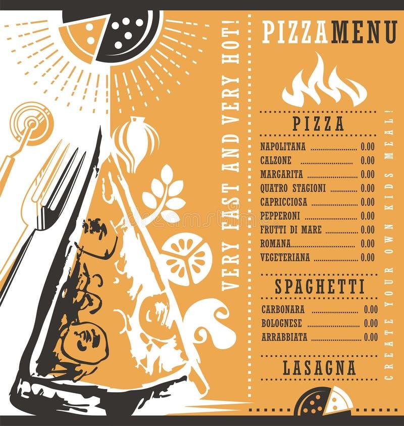Γραφική ιδέα σχεδίου επιλογών Pizzeria διανυσματική απεικόνιση