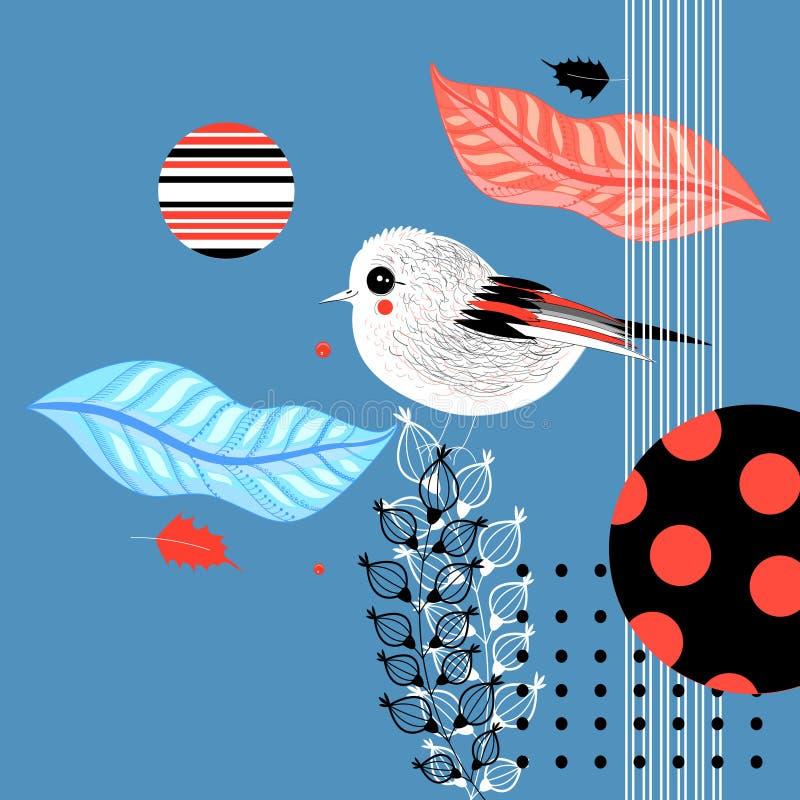 Γραφική κάρτα με λίγο πουλί διανυσματική απεικόνιση