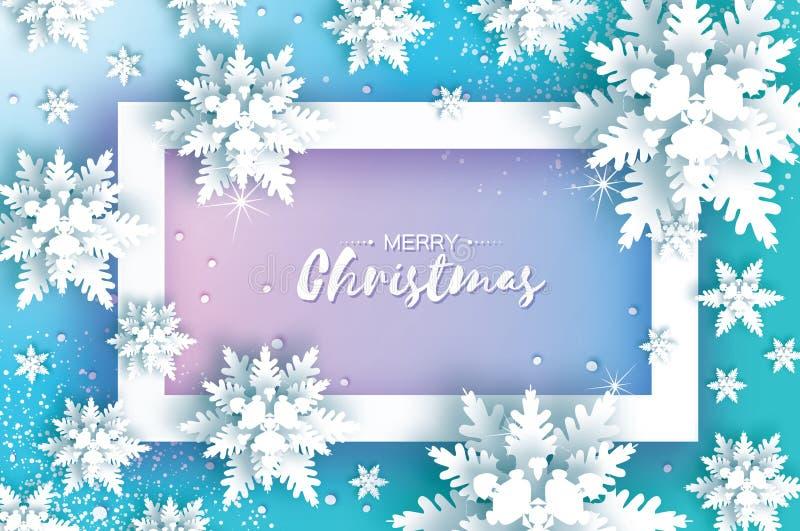 Γραφική κάρτα Χριστουγέννων με τη νιφάδα χιονιού διάνυσμα απεικόνιση αποθεμάτων