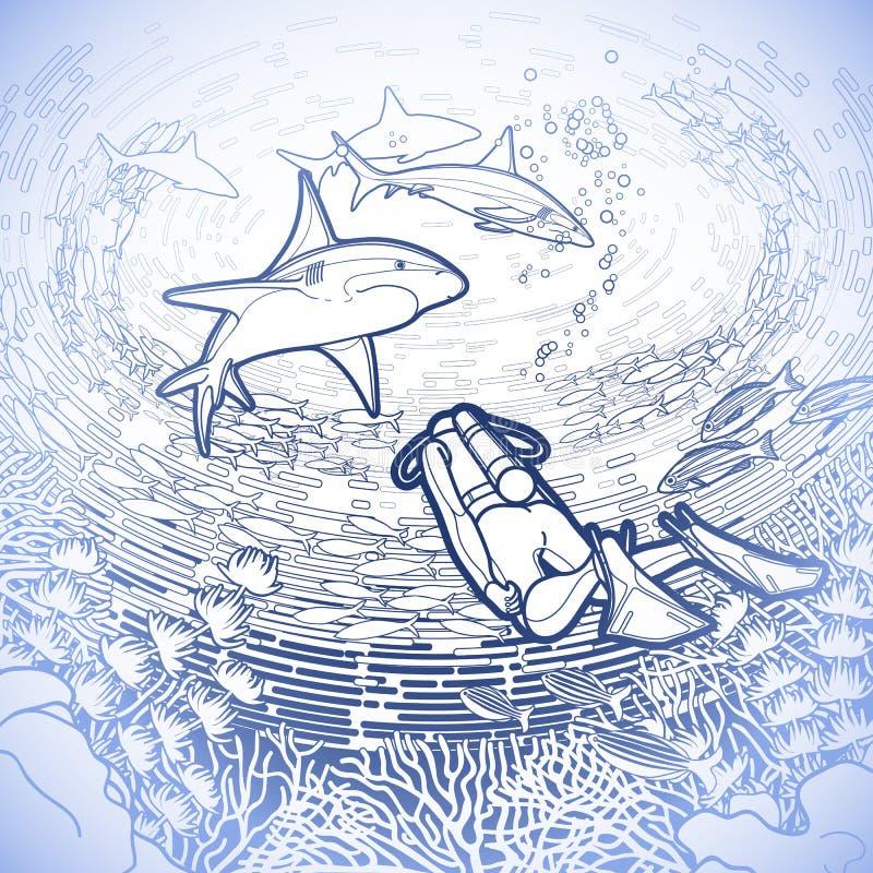 Γραφική κοραλλιογενής ύφαλος, δύτες σκαφάνδρων και καρχαρίες διανυσματική απεικόνιση