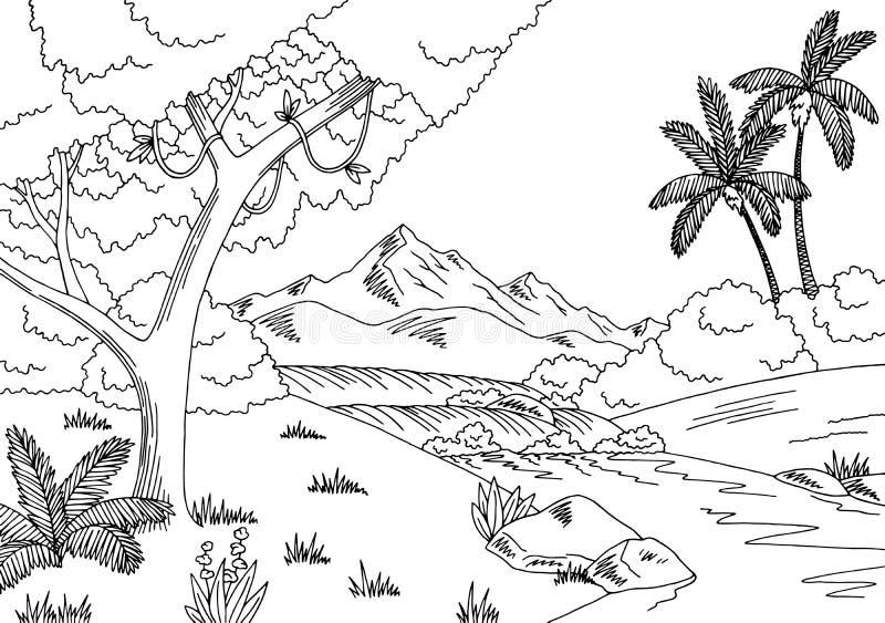 Γραφική μαύρη άσπρη απεικόνιση σκίτσων τοπίων ποταμών ζουγκλών απεικόνιση αποθεμάτων