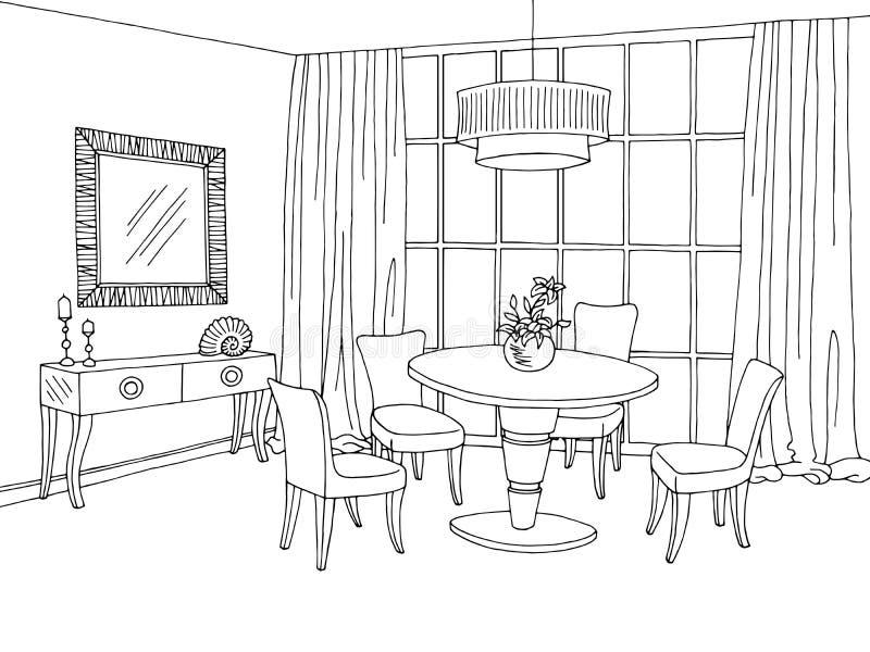 Γραφική μαύρη άσπρη απεικόνιση σκίτσων τραπεζαρίας ελεύθερη απεικόνιση δικαιώματος