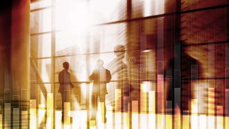 Γραφική παράσταση επιχειρήσεων και χρηματοδότησης στο θολωμένο υπόβαθρο Έννοια εμπορικών συναλλαγών, επένδυσης και οικονομικών στοκ φωτογραφίες