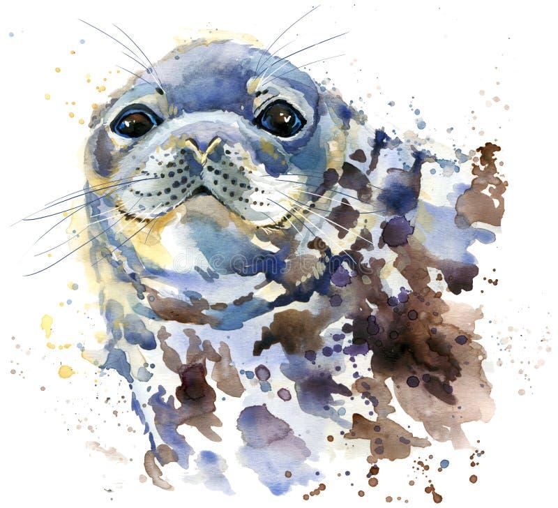Γραφική παράσταση μπλουζών σφραγίδων, θαλάσσια απεικόνιση σφραγίδων με το κατασκευασμένο υπόβαθρο watercolor παφλασμών ελεύθερη απεικόνιση δικαιώματος