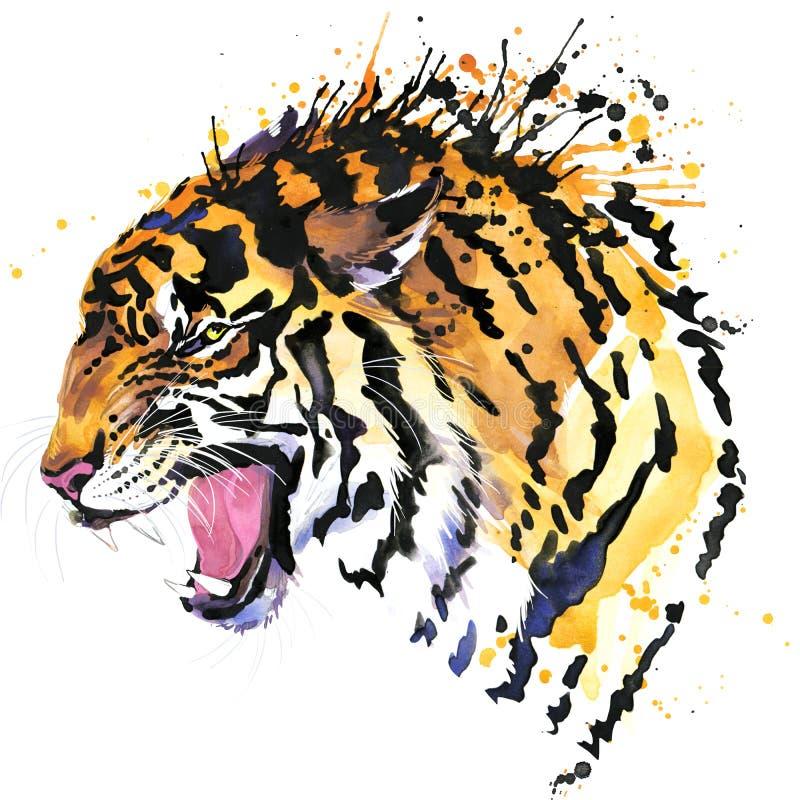 Γραφική παράσταση μπλουζών τιγρών βρυχηθμού, απεικόνιση ματιών τιγρών με το κατασκευασμένο υπόβαθρο watercolor παφλασμών διανυσματική απεικόνιση