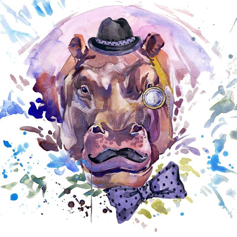 Γραφική παράσταση μπλουζών Hippopotamus απεικόνιση hippopotamus με το κατασκευασμένο υπόβαθρο watercolor παφλασμών ασυνήθιστο wat διανυσματική απεικόνιση