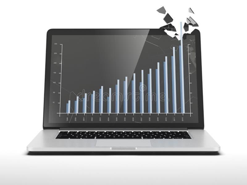 Γραφική παράσταση που εμφανίζει υψηλή ανάπτυξη στο lap-top διανυσματική απεικόνιση