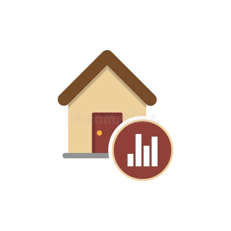 Γραφική παράσταση του εικονιδίου αύξησης τιμών ακίνητων περιουσιών απεικόνιση αποθεμάτων