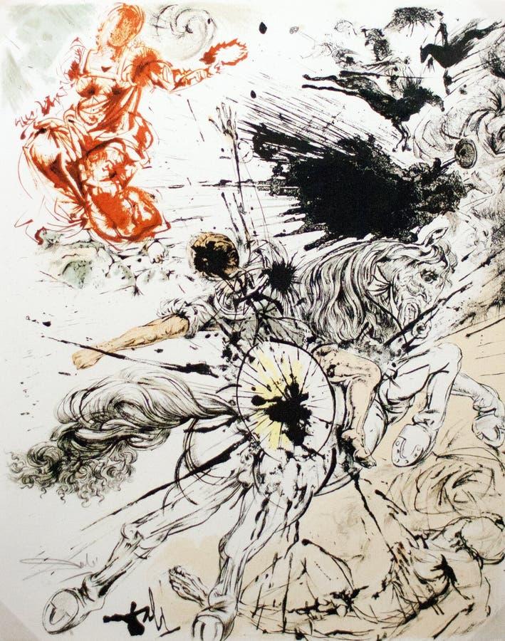 Γραφική παράσταση του Don Quichotte ελεύθερη απεικόνιση δικαιώματος