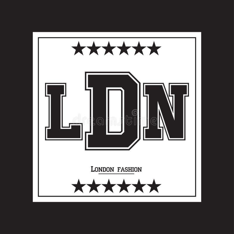 Γραφική παράσταση τυπογραφίας του Λονδίνου Σχέδιο ενδυμασίας απεικόνιση αποθεμάτων