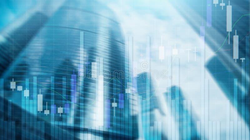 Γραφική παράσταση χρηματιστηρίου και διάγραμμα κηροπηγίων φραγμών στο φουτουριστικό υπόβαθρο πόλεων στοκ φωτογραφία με δικαίωμα ελεύθερης χρήσης