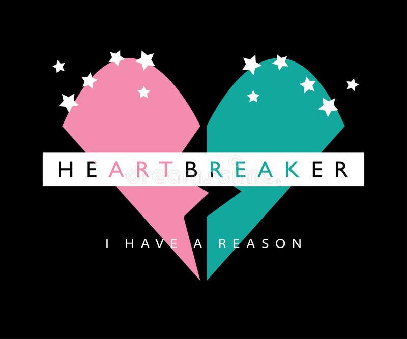 Γραφική παράσταση Heartbreaker/μπλουζών/υφαντικό διανυσματικό σχέδιο τυπωμένων υλών στοκ εικόνα